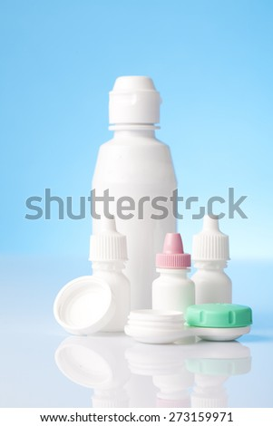 Dry eyes eye drops and contact lenses care drops - stock photo
