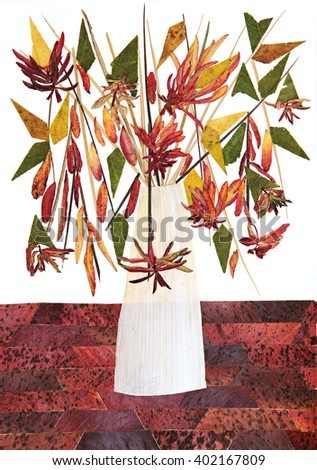 dry fall leaf flower draw watercolor bouquet paint object collected in flavor past on, emarigold, calendula, Raspberry Rowan grass iris rosehip wooden planks, illustration - stock photo