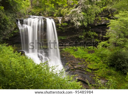 Dry Falls Highlands NC Waterfalls Nature Landscape Western North Carolina Blue Ridge Mountains natural outdoors scenery - stock photo
