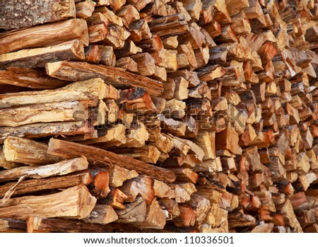 Dry firewood in a pile for furnace kindling - stock photo