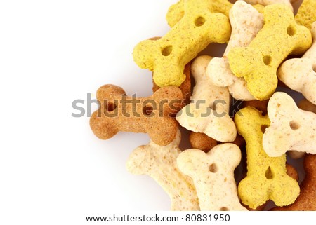 Dry food for dogs in bones shapes isolated on white - stock photo