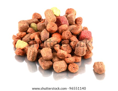 Dry food for dogs isolated on white background. - stock photo