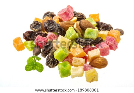 Dry fruit mix isolated on white