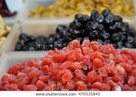 Dry fruit sell in market Thailand.