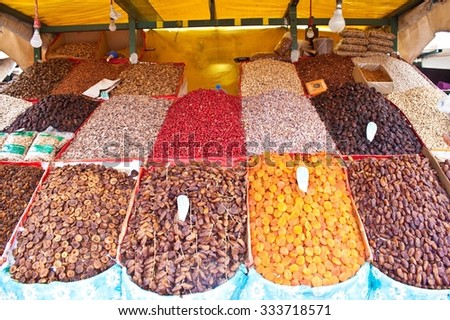 Dry fruits and nuts at a market in Marrakesh, Morocco