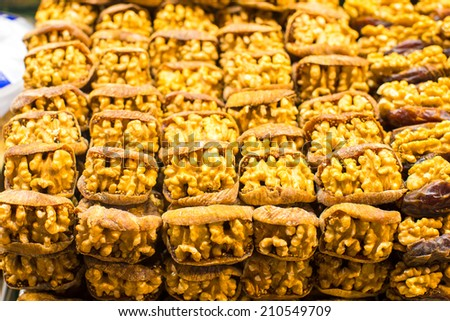 Dry fruits on famous Egyptian bazaar of Istanbul - stock photo