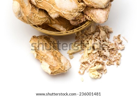 Dry ginger root grated isolated on white background