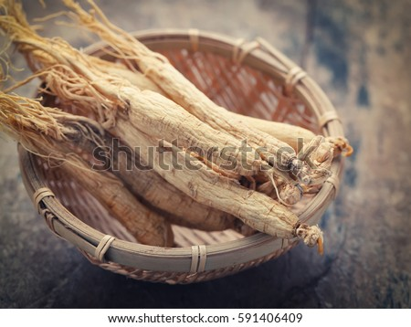Dry Ginseng Roots on wood background - vintage filter.