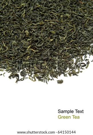 Dry green tea on white background - stock photo