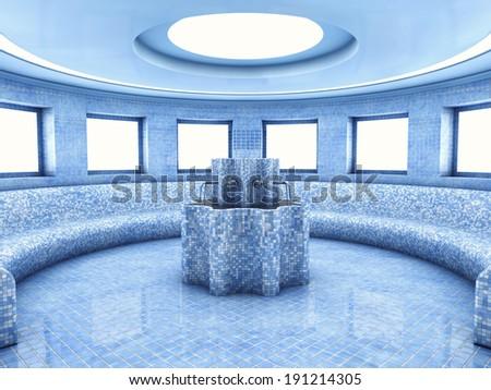 Dry heat treatment room , Roman sauna interior - stock photo
