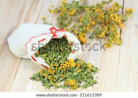 Dry herb St. John�´s worth, lat. Hypericum perforatum - stock photo