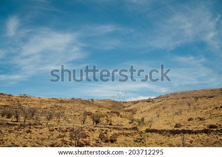Dry hill with bushes and wind turbines on Maui, Hawaii - stock photo