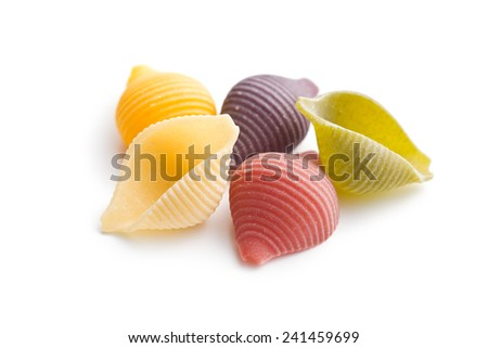 dry italian pasta on white background