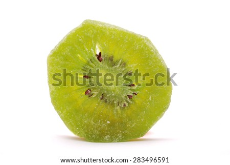 Dry kiwi fruit on a white background - stock photo