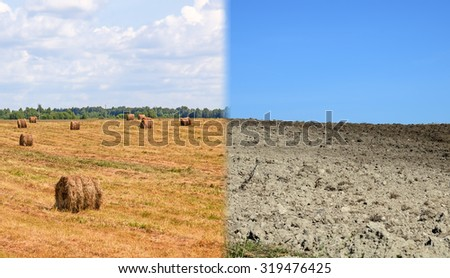 Dry land and fertile soil.Concept of climate change,seasonality,drought and crop - stock photo