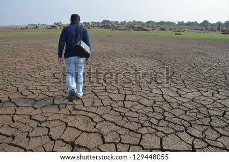 Dry land in South India - stock photo