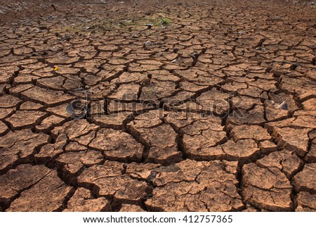 dry land in the cracks, background - stock photo