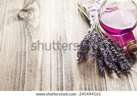 Dry lavender on wooden background - stock photo