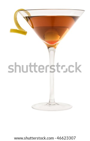 Dry Manhattan Cocktail with lemon peel on white background