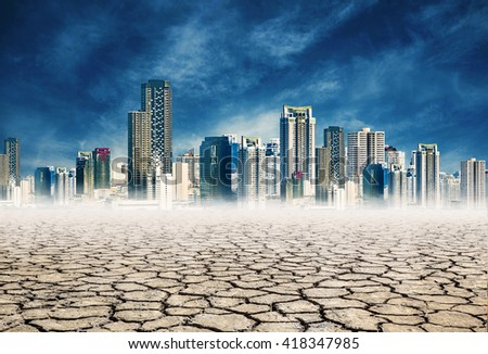 "dry mud lack of water,expression on ""EL nino"" climate effect - stock photo"