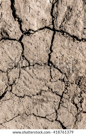 Dry mud, textured nature pattern background. Symbol of drought and arid ground. Barren land with rough texture. - stock photo
