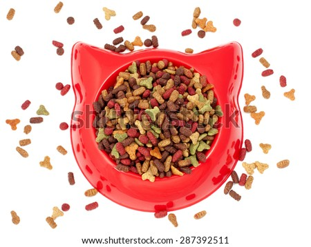 Dry  multicolored  pet food for cat in the red plastic bowl - stock photo