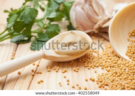 dry mustard and mustard spoon - stock photo