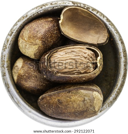 Dry Nutmeg of herb on white isolate with clipping path for decorate project. - stock photo