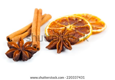 dry orange, cinnamon and Star Anise with copy space, on white background - stock photo