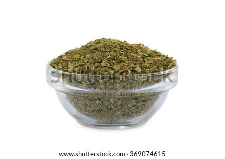 dry parsley isolated on white background - stock photo