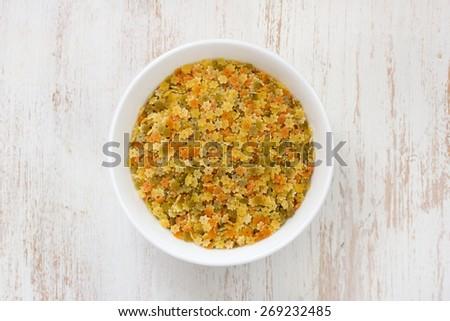 dry pasta in bowl - stock photo