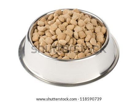 dry pet food in a metal bowl isolated on white background - stock photo