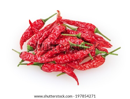 Dry red cayenne peppers isolated on white background with clipping path - stock photo