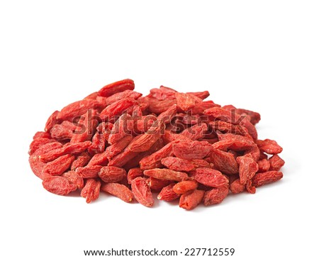 Dry red goji berries for a healthy diet isolated on white - stock photo