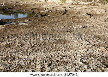 Dry reservoir in Ecuador - stock photo