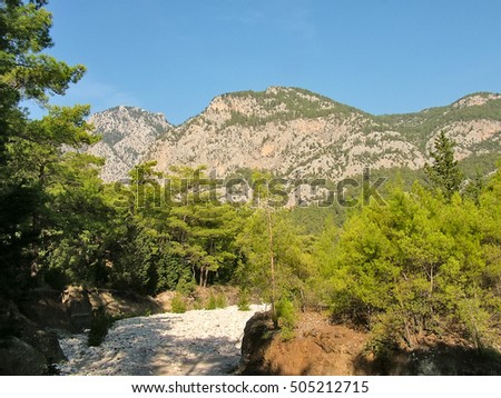 Dry  river bed in the Taurus Mountains in the fall near the village of Beldibi in Turkey