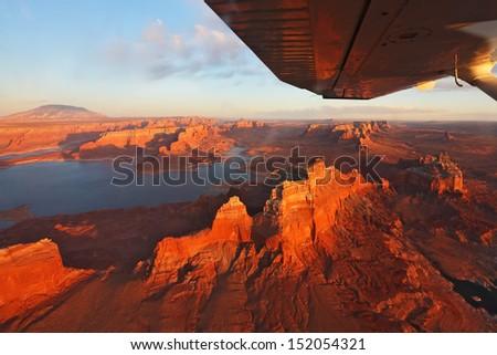 Dry rocky landscape at sunset - stock photo