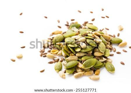Dry seeds for baking bread in small glass jars. - stock photo
