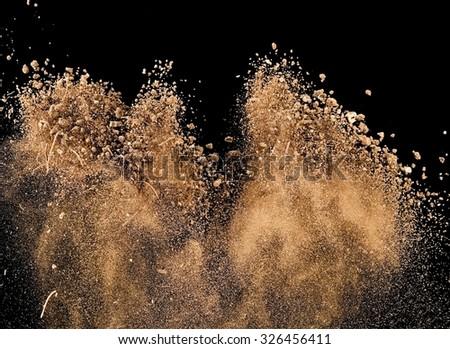 Dry soil explosion - stock photo