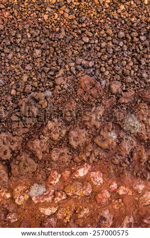 Dry soil surface cracks with stone. - stock photo