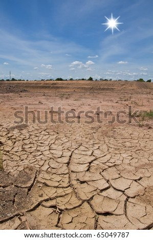 dry soil with blue sky