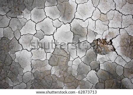 Dry soil with cracks, Iceland. - stock photo