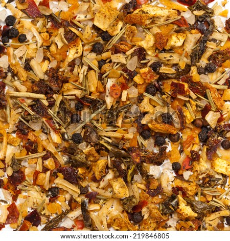 Dry spices mix for meat and fish background isolated. Macro. - stock photo