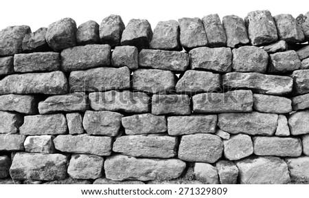 Dry stone wall. - stock photo
