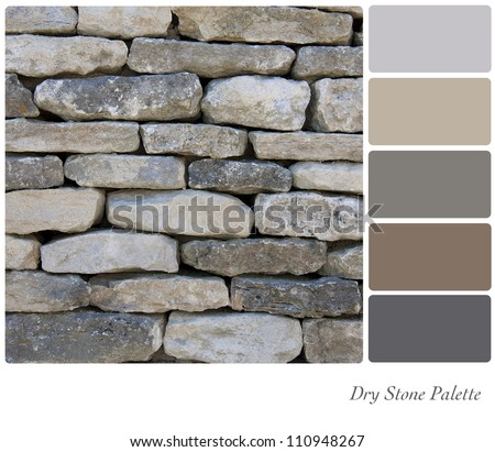 Dry stone wall background colour palette with complimentary swatches.