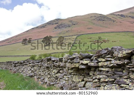 Dry Stone Wall in the Lake District - stock photo