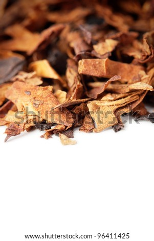 Dry tobacco leaves isolated on white with space for text - stock photo