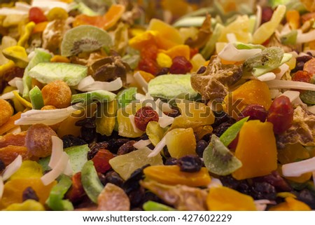 Dry tropical fruit mix. - stock photo
