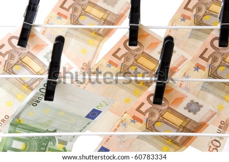 Dry up of Euro money ,against a white background