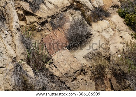Dry wild grass growing amid jumble of orange granite rocks as texture backround image